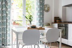 interior design tavolo bianco con cucina